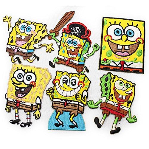 spongebob 6Pセット SET スポンジボブ キャラクター ワッペン イエロー