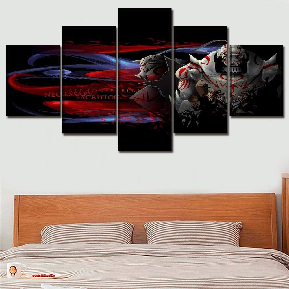 SDFGHY 5 Piece Wall Art Anime Full Metal Alchemist Canvas Paintings Home Decor Pictures Modern Artwork for Bedroom Wall Decor Office Decorations Unframed (60inchx32inch)
