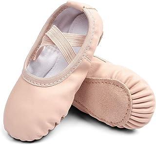 STELLE Ballet Dance Shoes Slippers for Girls Kids Toddler, Full Sole Ballet Slippers Falts/Dance Shoes