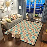 Vintage Simple Patio Carpet Area Rugs for Home Decorate Blossoming Flowers Antique Artistic Flora with Color Details Ornate Garden Pink Tan Sky Blue27x48 Inch