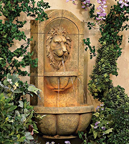 John Timberland Lion Head Faux Stone 29 1/2' High LED Wall Fountain