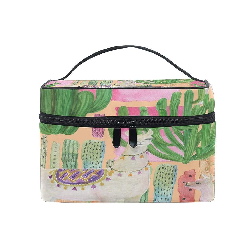 XLING Makeup Bag Tropical Cactus Animal Alpaca Cosmetic Case Travel Portable Carry Cosmetic Brush Box Organizer Storage for Women