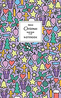 Christmas Notebook - Ruled Pages - 5x8 - Premium: (Purple Edition) Fun Christmas notebook 96 ruled/lined pages (5x8 inches...