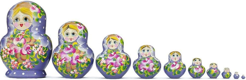 BestPysanky Set of 10 Purple Bouquet of Flowers Matryoshka Russian Nesting Dolls 6 Inches
