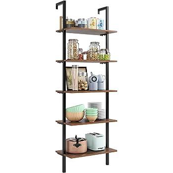 Homfa Estantería Escalera Librería de Pared con 4(5) estantes Estantería Metálica para Salón Baño Terraza Vintage y Negro (184.5x60x18.5cm): Amazon.es: Hogar
