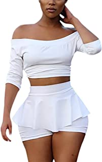 Womens Sexy 2 Pieces Off Shoulder Outfits Bodycon Solid Crop Top Pleated Pants Set Club Shorts
