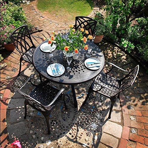 Lazy Susan - AMY 120 cm Runder Gartentisch mit 4 Stühlen - Gartenmöbel Set aus Metall, Antik Bronze (APRIL Stühle)