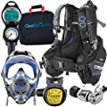 Cressi / Ocean Reef Full-Face Mask Scuba Gear Package with GupG Reg Bag, Blue SM