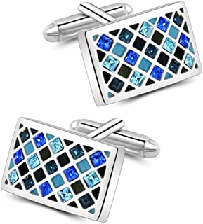 Mr.Van Elegant Swarovski Crystal Cufflinks Blue Glimmering Cuff Links Set Wedding for Him