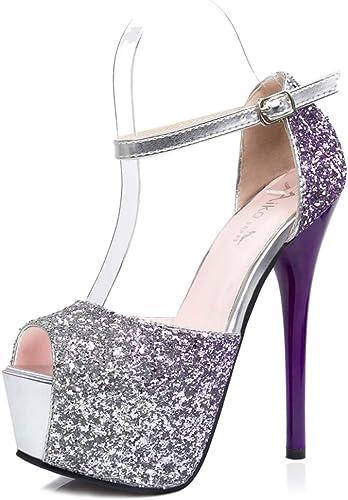 YAN YAN Mode des Femmes Super Haut Talon Slip sur Stiletto Pompe Double Plate-Forme fermée Toe Chaussures de fête de Mariage,A,39  offre spéciale