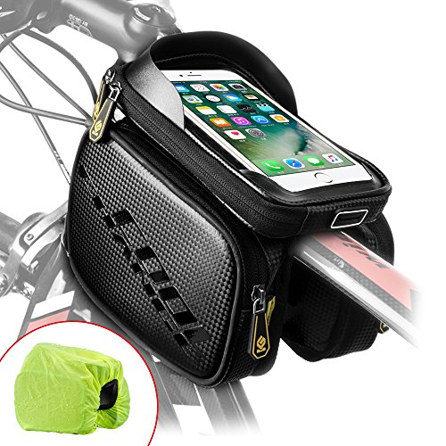 Cool Change Bike Frame Bag Touch Screen | Tough Case | Safty Edge Reflective| Mobile Cell Phone Bag Top Tube Bag for 6.2