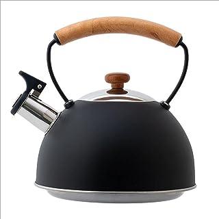 Nieuwe Stijl Zwarte Fluitketel Met Houten Handvat Europese Fluitketel Met 3L Grote Capaciteit Keukengerei Kookketel