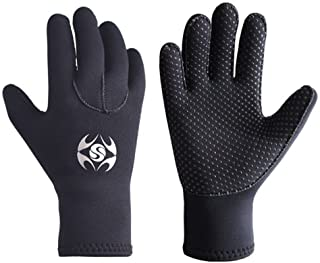Diving Gloves Neoprene, Wetsuits Five Finger Gloves, 3MM Anti Slip Flexible Thermal Material for Snorkeling Swimming Surfi...