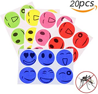 20pcs Mosquito Repellent Patches Smiling Stickers 100% Natural Non Toxic Pure Essential Oil Keeps Insects Far Away Camping...