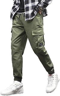 HEFASDM Mens Pocket Loose Fit Cargo Pant Fashion Jogger Pant Lounge Trousers