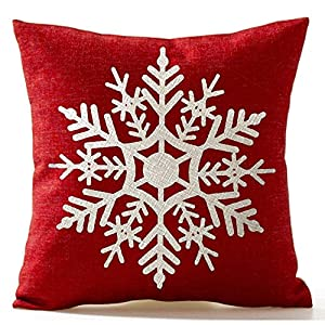 Snowflake Cushion Covers 18 X 18 inch Red and white