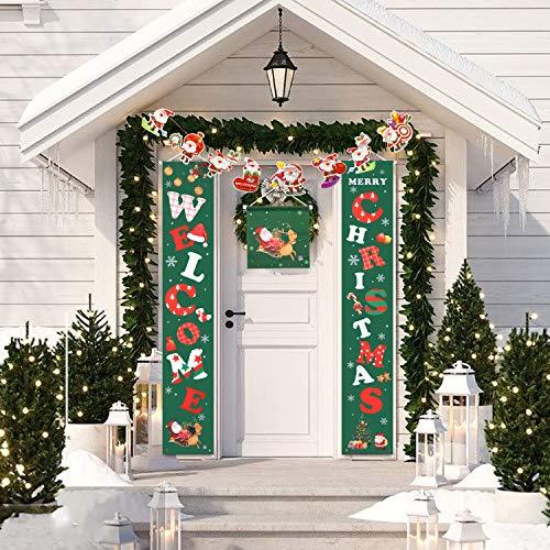 Tmolim Decoraciones Signo De Porche Navidad Porche Signo Tela Escocesa Roja Feliz Navidad Bienvenida Banner Puerta De Frente Signo Colgante For La Decoración del Hogar Feliz Navidad Porche Sign ⭐