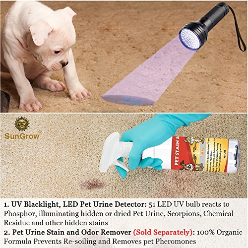 395nm Wavelength HDE Pet Urine Detector 21 LED UV Blacklight Flashlight with Eye Protection Illuminates Pet Stains Caused By Accidents and House Training
