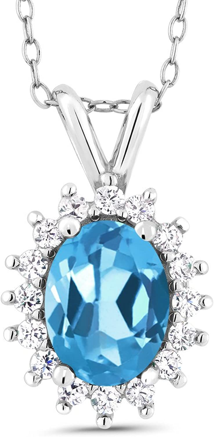 Oval Swiss bluee Topaz 14K White gold Pendant 1.54 Cttw With 18 Inch Chain