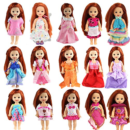 Miunana 6 Fashion Clothes Outfits Dresses for 4 Inch Kelly Doll Chelsea Dolls Easter Gift
