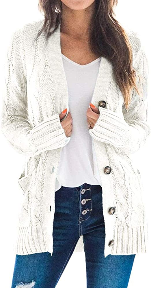 Goranbon Women's Cable Knit Cardigan Long Sleeve Open Front Button Down Knitwear Sweater Coat
