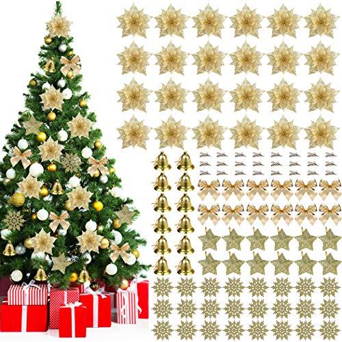 JUSTDOLIFE Ornamento di Albero di Natale, 108 PCS Glitter Fiore Artificiale Fiori di Albero di Natale Ornamento di Decorazione Fiore Falso di Natale Ornamento per Natale Albero Partito