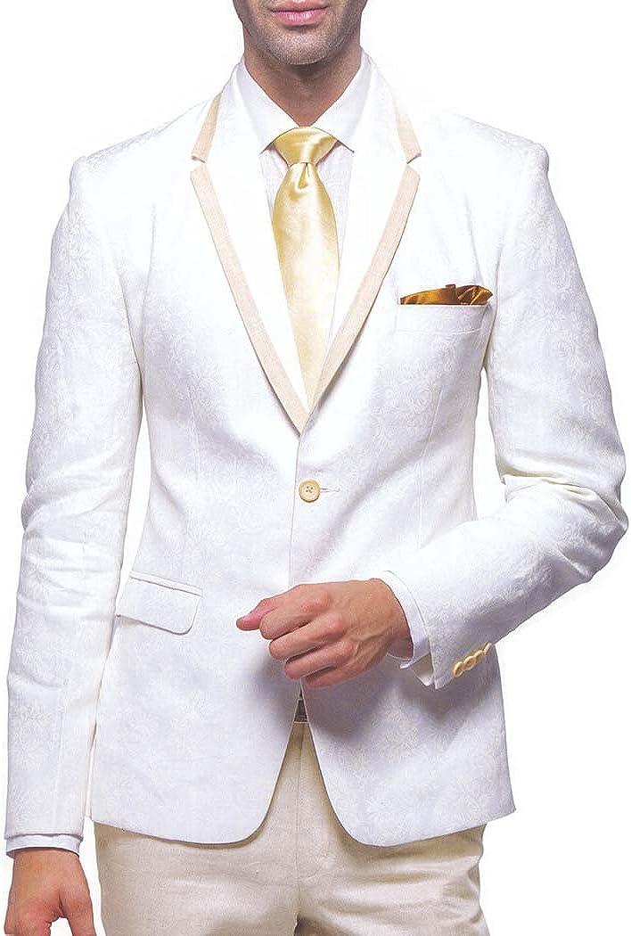 INMONARCH Mens Cream 5 Pc Linen Tuxedo Suit Trim Collar TX989