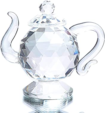 Waltz&F Mini Crystal Teapot Collectible Figurine Paperweight Home Table Decoration