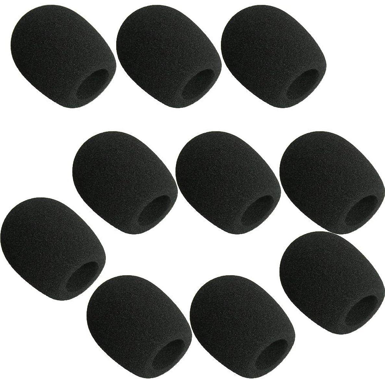 10pcs Microphone Cover Sponge Cap Handheld Stage Microphone Windscreen Foam Cover, Black