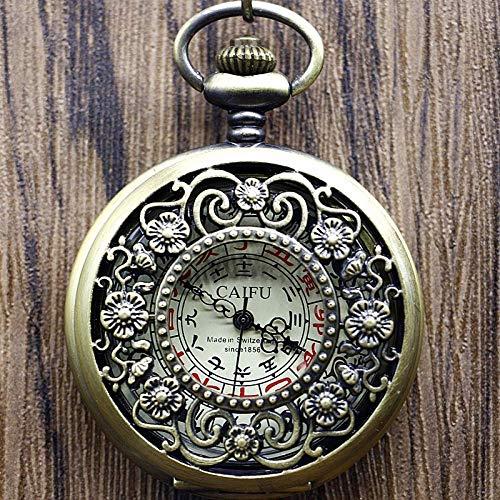 El nuevo reloj de bolsillo bronce antiguo aleación caso flor Unisex mecánico mano cuerda reloj regalo de Navidad