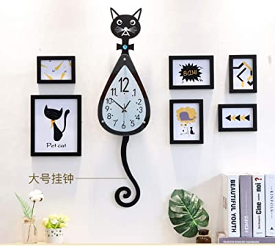 WWGZ Cat Wall Clock,Creative Living Room Modern Simple Clock,Cartoon Wall Charts,
