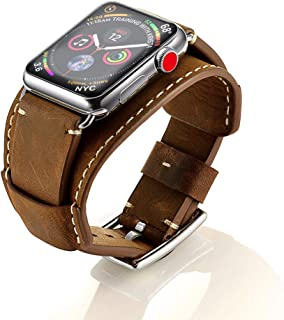 GOSETH Compatible with Apple Watch Band 44mm Series 5/4 Apple watch band 42mm Series 3/2/1,Genuine Leather Strap with Stainless Clasp for iWatch Series 5/4/3/2/1 (Brown, 44mm/42mm)