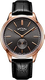 Rotary Mens Cambridge Leather Strap Rose Gold Tone GS05364/20