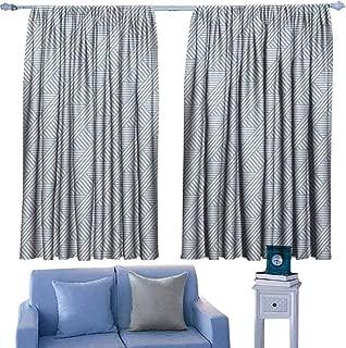Mannwarehouse Stripes Customized Curtains Monochrome Diagonal Lines Geometric Composition Modern Minimalist Design 70%-80% Light Shading, 2 Panels,72