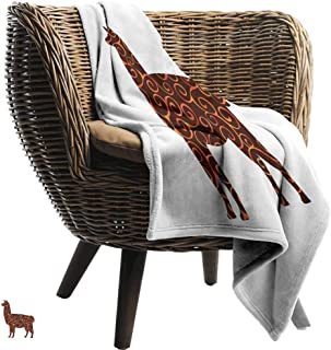 Mannwarehouse Llama Home Throw Blanket South American Domestic Animal Silhouette with Swirled Lines Abstract Alpaca Design Fall Winter Spring Living Room Orange Brown