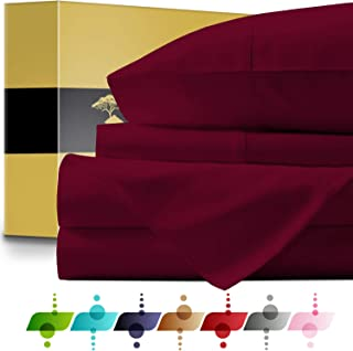 URBANHUT Egyptian Cotton Sheets Set - 1000 Thread Count 100% Cotton Bed Sheets Queen (4 Piece), Luxury Queen Size Sheets, Deep Pocket, Soft & Silky Sateen Weave (Burgundy)