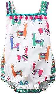 Baby Girls Boys Romper Newborn Alpaca Print Bodysuit Bowknot Headband Cactus Floral Pants Outfits Set
