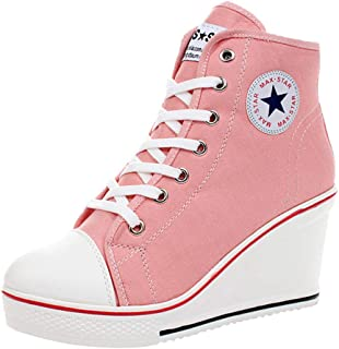 Women's Sneaker High-Heeled Fashion Canvas Shoes High Pump Lace UP Wedges Side Zipper Shoes …