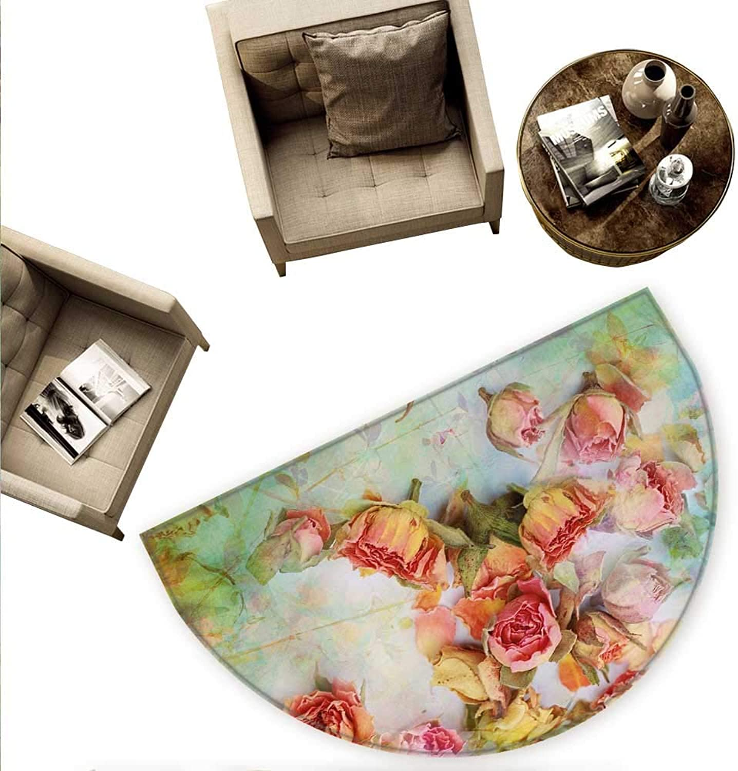 pink Semicircle Doormat Dried pinks Petals Leaves Nostalgic Fragile Floral Vintage Abstract View Artistic Halfmoon doormats H 78.7  xD 118.1  Multicolor