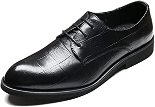 QinMei Zhou Gentle Oxfords for Men Business Shoes Lace up Microfiber Leather Pointed Toe Grid Embossed Burnished Style (Fleece Lined Optional (Color : Black, Size : 9 UK)