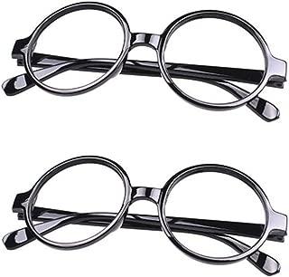 Retro Geek Nerd Style Round Shape Glass Frame NO LENSES Costume Eyewear 2 Pieces Set