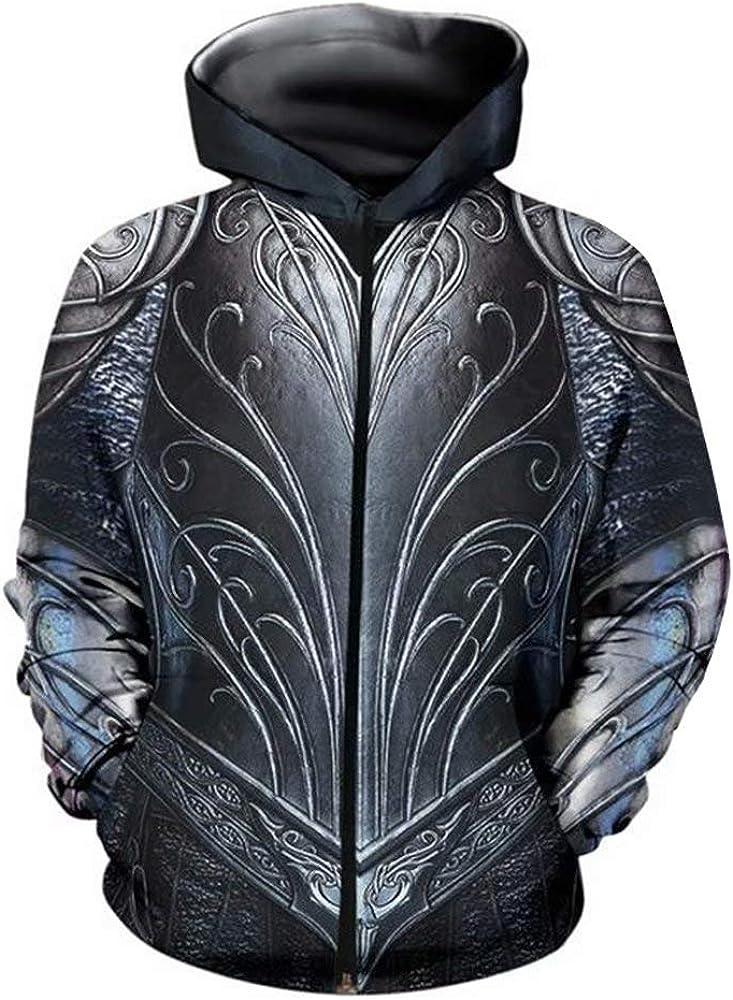 Men's Medieval Knight Armor Hoodie Printed Long 3D Graphic Sleev セール特別価格 限定タイムセール