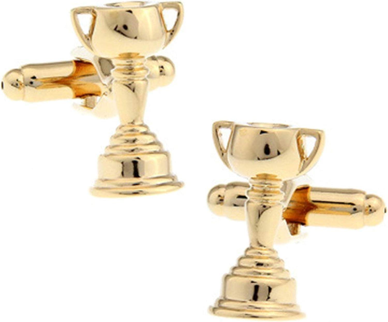 Daesar Men's Cufflinks Set Cufflinks Shirt Studs Champion Trophy Gold Cufflinks Groom