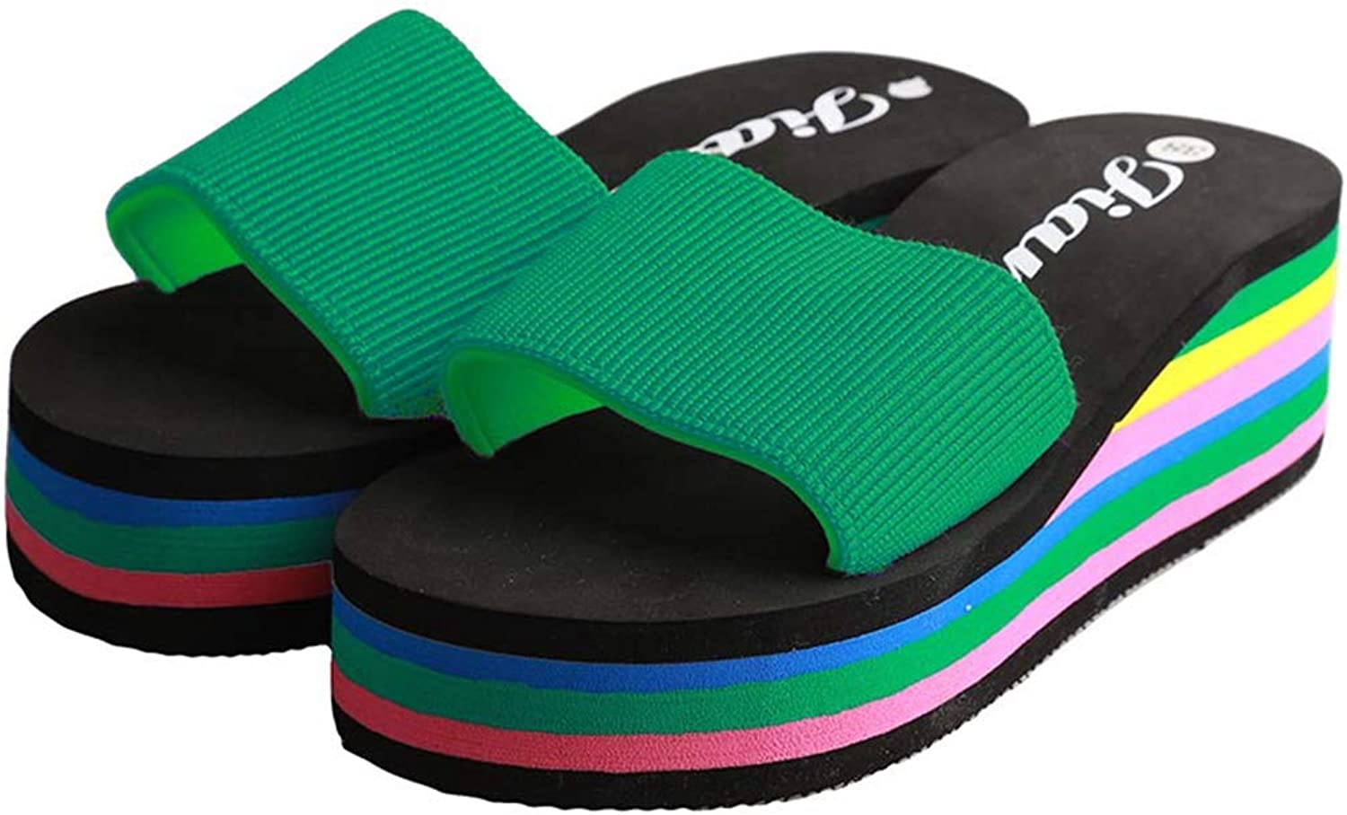 Fay Waters Women Slippers Fashion Rainbow Home Slides Casual Wedge Heels Beach Sandals
