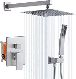 Rugus 93102BN Bathroom Luxury Rain Mixer Shower Combo Set Wall Mounted Rainfall Shower Head System,10 Inch Square Rain Shower Head,Brushed Nickel,(Contain Shower faucet rough-in valve body and trim)