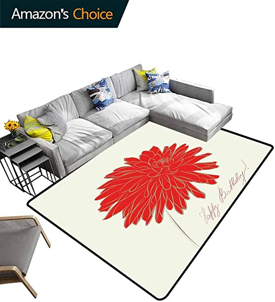 Dahlia Contemporary Area Rug Large Sketching Of A Colossal Dahlia Blossom Retro Style In Blood Red Colored Single Flower Easy Maintenance Area Rug Living Room Bedroom Carpet 2 5 X 9