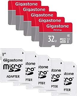 Gigastone Micro SD Card 32GB マイクロSDカード フルHD 5Pack 5個セット 5 SDアダプタ付 5 ミニ収納ケース付 SDHC U1 C10 高速 メモリーカード Class 10 UHS-I Full HD 動画