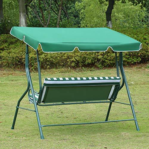Loywe Hollywoodschaukel Gartenschaukel Schaukelbank 3-Sitzer mit Dach Stahlgestell,Grün 170x115x156cm LW12 - 7
