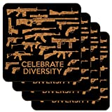Guns Weapons Rifles Celebrate Diversity Second 2nd Amendment Low Profile Novelty Cork Coaster Set