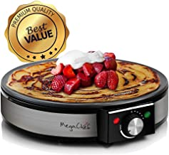 MegaChef Round Stainless Steel Crepe and Pancake Maker Breakfast Griddle, 12 Inch..